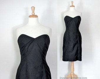 60s Dress / Vintage 60s Dress / Sheath Dress / Black Dress / Silk Dress / Cocktail Dress / Evening Dress / Party Dress / LBD / Small