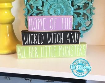 Home of the Wicked Witch- Wicked Witch Sign, Halloween Sign, Halloween Decor, Halloween Home Decor, Wood Halloween Sign, Witch Sign