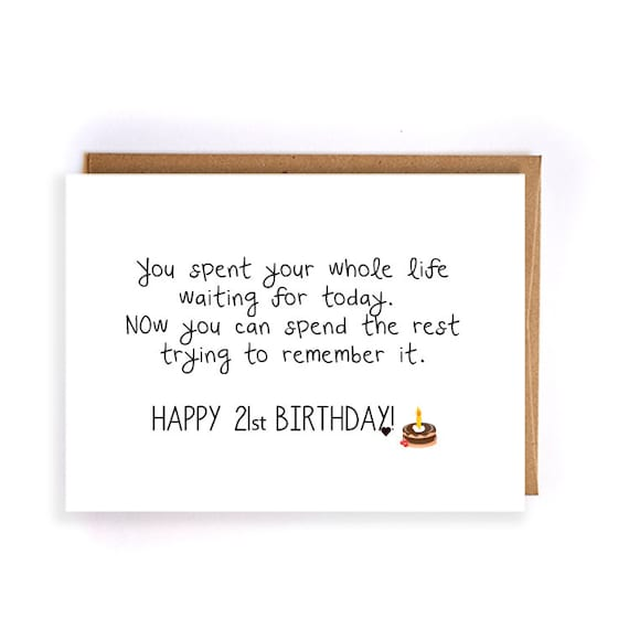21st birthday gift for her greeting card gift ideas funny like this item bookmarktalkfo Image collections