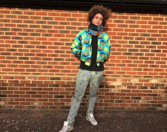 African Jacket - Wax Bomber - African Clothing - African Mens Fashion - Wax Print Jacket - Festival clothing - Festival Jacket -  Winter