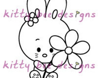Flower For You Bunny Digi Stamp