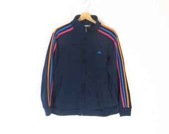 ADIDAS ORIGINALS Vintage Adidas Originals Clima Lite Women's Navy Blue Striped Sweatshirt Jacket, sz. XL
