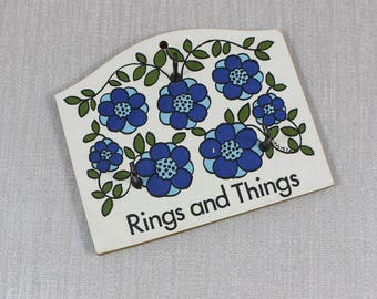 1970s Melamine and Wood Rings and Things Taunton Vale Wall Key Holder Blue Retro Flowers