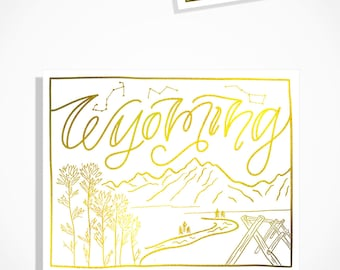 Wyoming State Map [White] // Gold Foil // Handlettering // Illustration