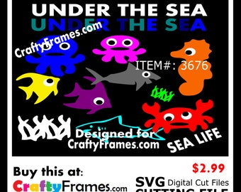 ITEM # CF-3676 -Under the Sea Creatures - SVG Cutting Machine File - Instant Download - 2.99