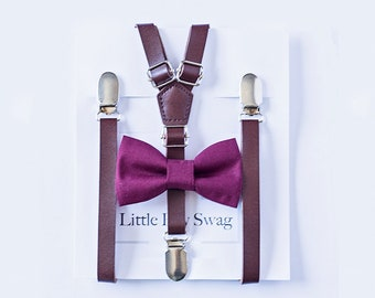 Boy Bow Tie, Brown Leather Suspenders,Ring Bearer Outfit,Wedding Bow Tie, Ring Bearer Gift,  Boy Wedding Outfit, Ring Bearer Outfit Wine