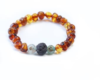 Mixed Natural Stone Aromatherapy Bracelet - Cognac Baltic Amber - Crushed Blue Agate Gemstone - Lava Rock Stone - Elastic Beaded Bracelet