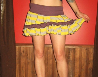Eco Friendly Yellow Purple Jersey Patchwork Skirt Medium Large by Vicmes Clothing