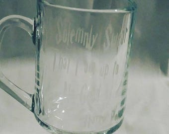 Harry Potter I solemnly swear I am up to no good Handled mug glass etched
