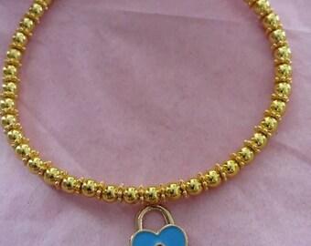4mm gold beaded heart padlock charm bracelet