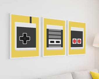 Nintendo Poster Set   Retro Poster Video Game Wall Art Game Pad   Gaming Couple Gifts for Him Her Gamer Gift   Gaming Decor Game Room Decor  sc 1 st  Etsy & Video game decor   Etsy