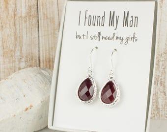 Burgundy Quartz Silver Earrings, Garnet Silver Earrings, Burgundy Silver Earrings, Bridesmaid Earrings, Bridesmaid Gift, Wedding Jewelry
