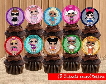 Digital Lol surprise toppers| Lol dolls birthday party| printable Lol cupcake toppers|  Lol dolls decor| Lol dolls children birthday