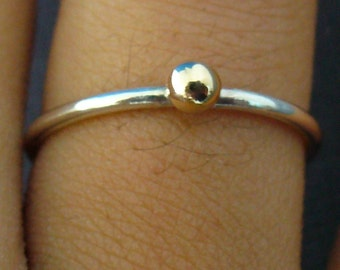 Thin Ring - Sterling Silver & 14k Gold Ball Stacking Ring