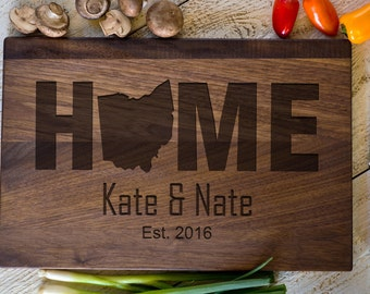 Custom Engraved Cutting Board, Personalized Cutting Board, Ohio, Home, Wedding Gift, Anniversary, Bridal Shower Gift, Kitchen Decor #3156
