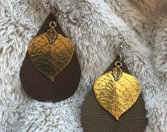 Fuax leather teardrop earrings