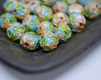 Chinese Cloisonne Beads 8mm Gold Turquoise Cloisonne Bead Enamel Beads Metal Beads (6 beads) CL17