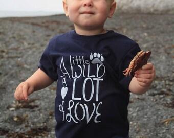 A Little Wild A Lot of Love. Handmade Alaska. Kids T-shirt.