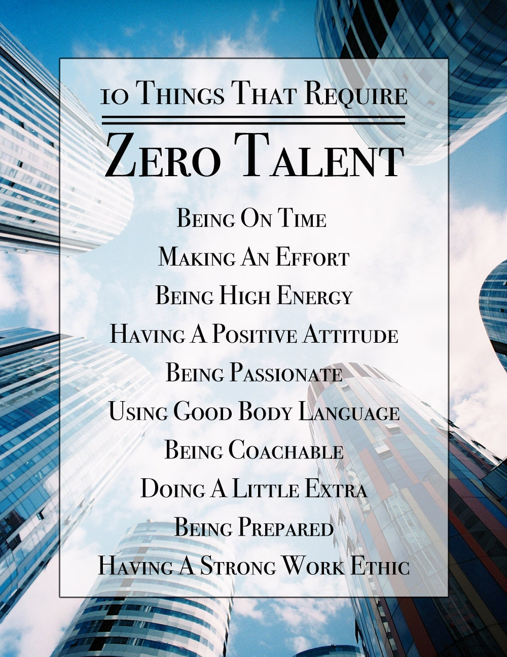 Trust image with 10 things that require zero talent printable