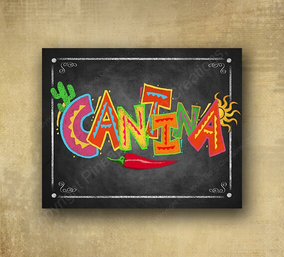 Cinco de Mayoi Cantina Sign, Printed Chalkboard Fiesta Sign - Fiesta Cafeteria Sign, Fiesta party signage, grad sign, wedding sign