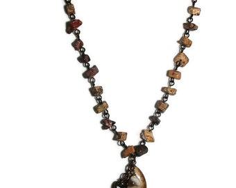 Jasper Chain Focal Dangle Necklace  N74