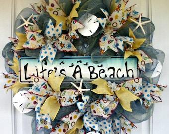 Spring Wreath, Summer Wreath, Beach Wreath, Mesh Wreath, Sand Dollar Starfish Wreath, Indoor Wreath, Outdoor Wreath, Welcome Wreath