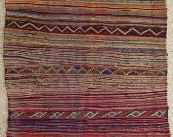 """98""""X59"""" Vintage Moroccan rug woven by hand from scraps of fabric / boucherouite / boucherouette"""