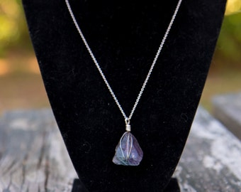 Gunmetal Sterling silver wrapped Fluorite necklace.