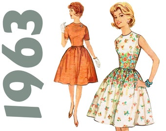"Fit and Flare Dress 1960s Party Dress SIMPLICITY 4918 bust 35"" Rockabilly Dress Pattern Border Print Dress Gathered Skirt Full Skirt Dress"