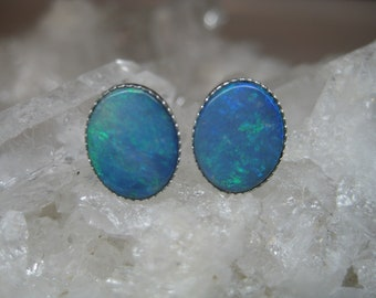 Crystal Opal Stud Earrings, Genuine Australian Opals, Blue Opal Earrings, Oval Gemstone Stud Earrings, October Birthstone, Opal with Silver