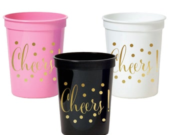 Cheers Special Event Party Cups - set of 25 - Engagement Party Decor, Birthday Party Tableware - available in Pink, White or Black