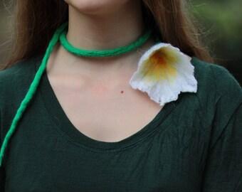 Lariat Necklace, Flower Necklace, Boho Hippie Necklace, Gypsy Jewelry, Funky Jewelry, Statement Necklace, Eco Friendly, Felted Wool