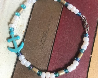 Turquoise anchor and pearls