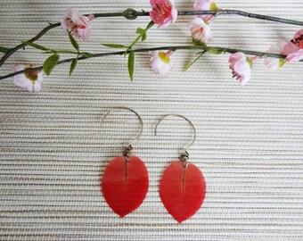 Stud Earrings, red bougainvillea plant