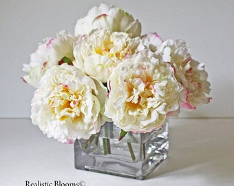 White/cream/pink/champagne, silk, peonies, glass vase, faux water, acrylic, illusion,  Real Touch flowers, floral arrangement, centerpiece