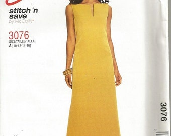 McCall's 3076 Easy Stitch N Save Dress Pattern SZ 10-16