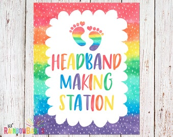 PRINTABLE Headband Decorating Station Sign, Baby Shower Party Sign, Baby Shower Game, Rainbow Baby Shower Party Game, INSTANT DOWNLOAD