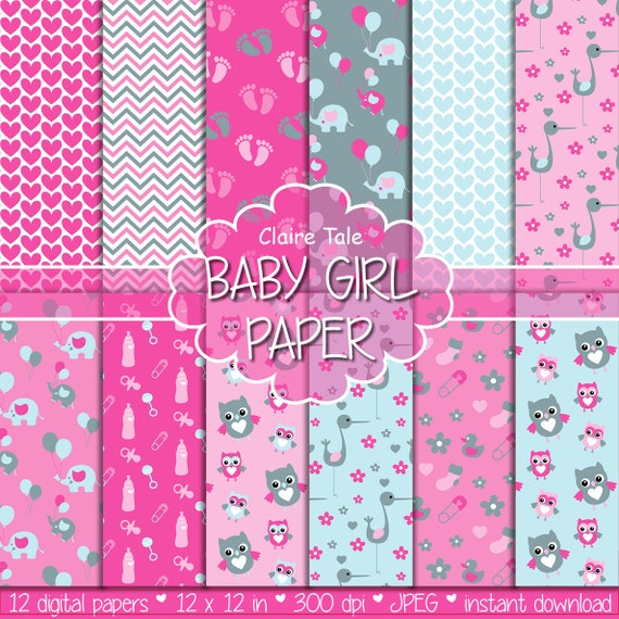 """Baby digital paper: """"BABY GIRL PAPER"""" with elephants, foot print, hearts, rattles, baby bottles, owls, storks, safety pins in pink and grey"""