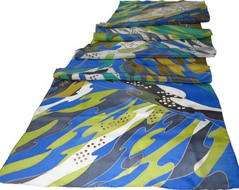 silk scarf blue River. Handpainted  silk scarf with blue, green painted silk scarf. Silk scarves Ready to Ship