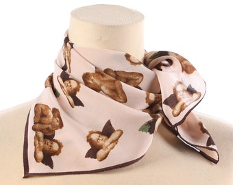 Angels Scarf Small Silk Kerchief 80s Printed Silk Crepe Pocket Brown Beige Neck Scarf Bohemian Lightweight