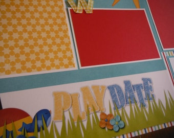 Play Date Friends 12x12 Scrapbook Pages for your FAMILY  Boy GIRL SUMMER Park