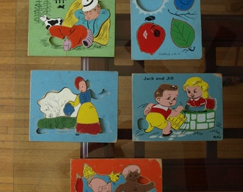 Five Vintage Wooden PlaySkool Puzzles – Missing Pieces