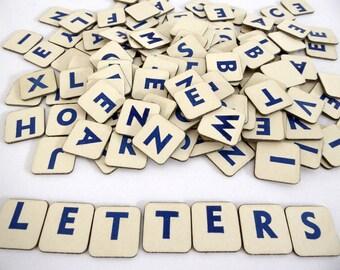 Vintage cardboard letters - 12 letter tiles