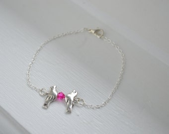 Silver Tone Doves Bracelet - Silver Tone Chain - Ready for gift - Swarovski Pink Crystal