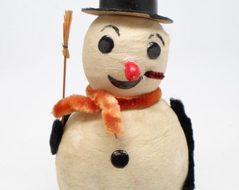 1940's Snowman, Spun Cotton Head, Black Top Hat, Pipe and Broom