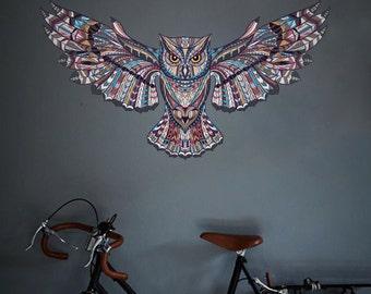 Boho Style Wall Decal | Bohemian Style Patterned Owl Wall Decal | Wall Decal | Vinyl Wall Sticker- OM012