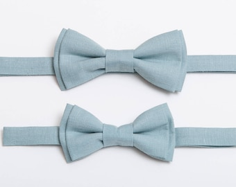 Light Blue Linen Bow tie Father and Son Matching outfit Bow tie set Bow ties for men Boys bow tie Toddler Bowtie Ring bearer Wedding gifts