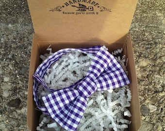 Boys Purple Gingham Bowtie