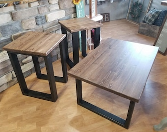 Coffee table, End table set, classic black and walnut stain, modern coffee table, end table. Set of three.