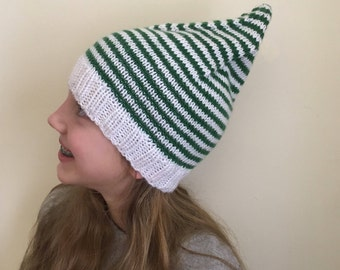 """Knit Elf Hat, Christmas Hat, Green Elf Hat, Adult Small Elf Hat (11-18 years / 19-21"""")  (KH-024)"""